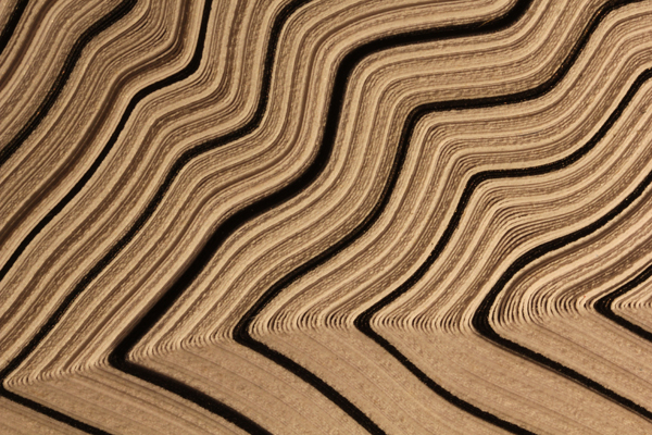 The complex folding patterns that arise when layered paper is put into a test machine and squashed.